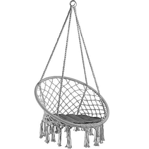TecTake 800689 Hängesessel zum Aufhängen, inkl. bequemes Sitzkissen, max. 100 kg belastbar, für draußen...