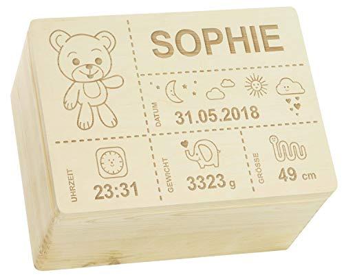 LAUBLUST Erinnerungsbox Baby Personalisiert - Teddybär - Geschenk zur Geburt | XL - ca. 40x30x24cm, Holzkiste...