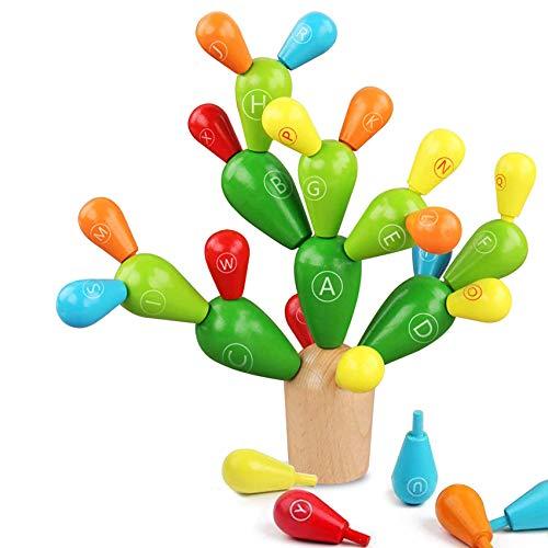 Sunshine smile Balance Kaktus,Kaktus Spielzeug,lernspielzeug Holz für Kinder,holzblöcke Spielzeug,Montessori...
