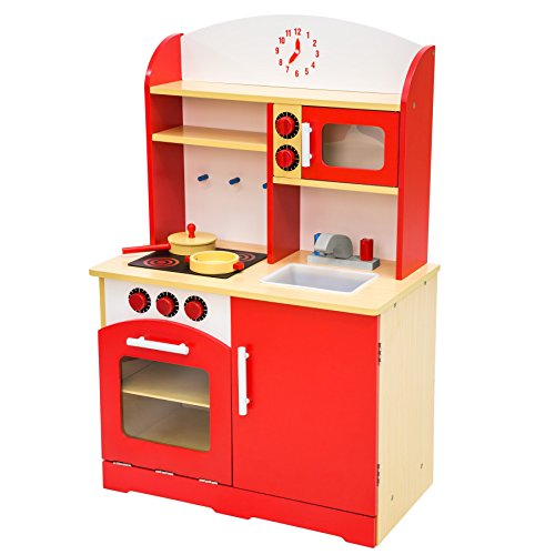 TecTake Kinderküche Spielküche aus Holz - Diverse Modelle - (Rot)