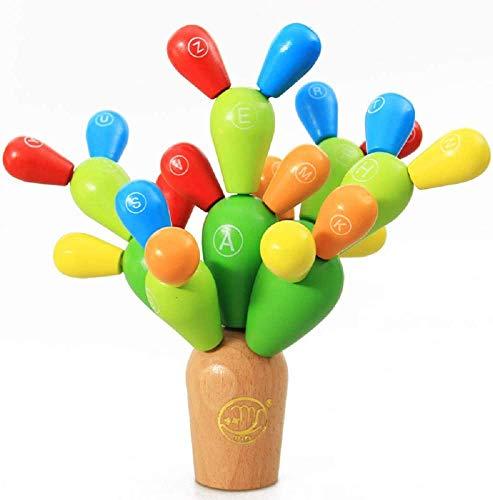 Jiahuade Balance Kaktus,Montessori Steckspiel Stapelspiel,Montessori Holz Steckspiel Sortierspiel,Feinmotorik...