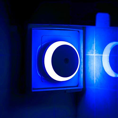 LED Steckdose Nachtlicht, Dämmerungssensor, Blaues Licht, Automatisches Nachtlicht, Energieeffizienz, Rund,...