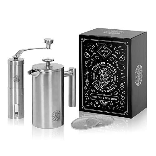 Rooster Coffee Set doppelwandig isolierte Edelstahl French Press 0,6 Liter (3 Tassen) und manuelle...
