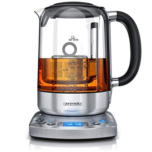 Arendo - Glas Wasserkocher mit Auto Lift Funktion - Teekocher mit Temperatureinstellung - 24 Stunden Timer - 5...