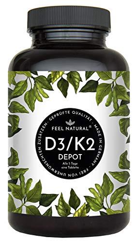 Vitamin D3 + K2 Tabletten - 180 Stück - Hochdosiert mit 5000 I.E. Vitamin D3 und 200 mcg Vitamin K2 pro EINER...