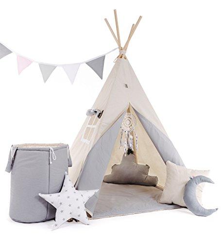 Kinder Teepee Tipi Set für Kinder Spielzeug drinnen draußen Spielzelt Zelt 8 Elemente dabei Tipi-Set...