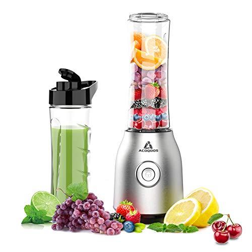 ACOQOOS Smoothie Mixer Maker, Mini Standmixer für Smoothie, Shakes, Eis und Tiefkühlfrüchte, mit 2 Tritan...