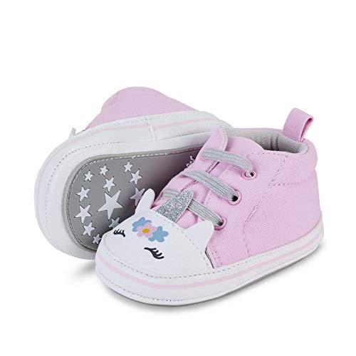 Sterntaler Baby-Schuhe für Mädchen, Rutschfeste Sohle, Schuhspitze im Einhorn-Look, Farbe: Rosa, Größe:...