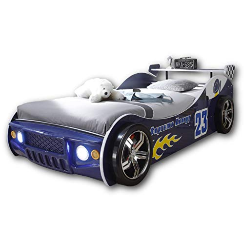 Stella Trading ENERGY Autobett mit LED-Beleuchtung 90 x 200 cm - Aufregendes Auto Kinderbett für kleine...