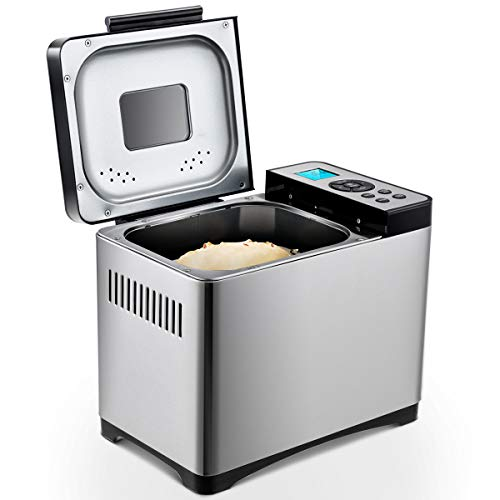 DREAMADE Brotbackautomat aus Edelstahl, Brotbackmaschine Brotbäcker mit 19 Backprogramme, Backmeister mit...