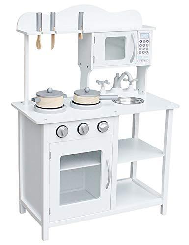 Coemo Spielküche Pia Kinderküche Kinderspielküche Holz mit Aufsatz Zubehör Weiß