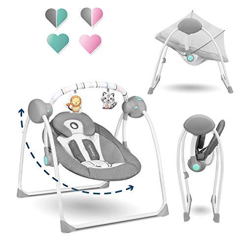 Lionelo Ruben Baby Wippe Babyschaukel Elektrisch mit Liegefunktion Baby Schaukel 0 bis 9 kg Moskitonetz 5...