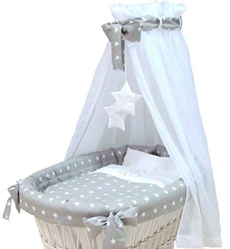 Babymajawelt® Ersatz Bett Set für Stubenwagen - 7 Teile, Bettwäsche, Nestchen, Himmel, Steppbett,...