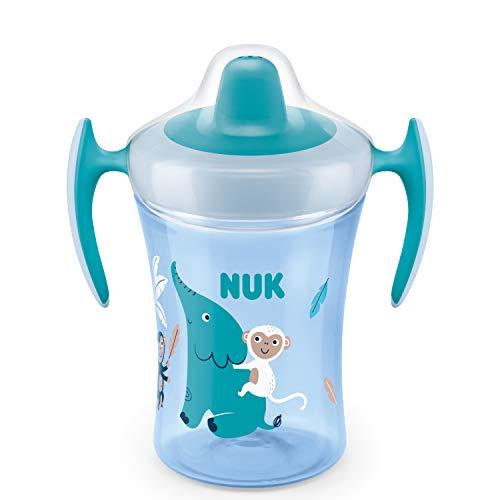 NUK Trainer Cup Trinklernbecher, weiche Trinktülle, auslaufsicher, 6+ Monate, BPA-frei, 230ml, Elefant, blau