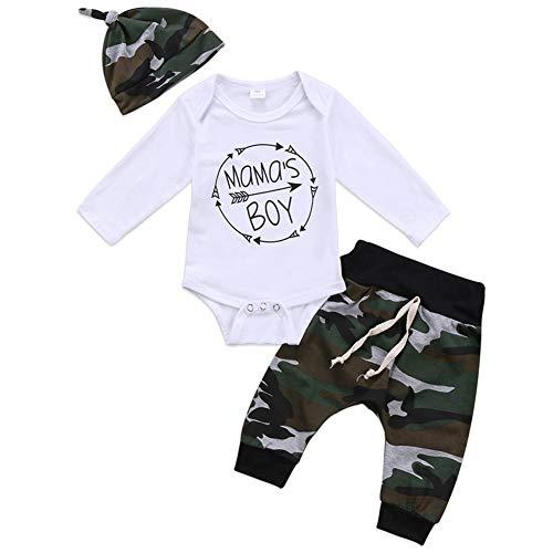 Geagodelia 3tlg Babykleidung Set Baby Jungen Langarm Body + Hose + Mütze Kleinkinder Neugeborene Weiche Warme...