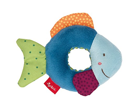 SIGIKID 41916 Rassel Fisch Red Stars Mädchen und Jungen Babyspielzeug empfohlen ab Geburt blau