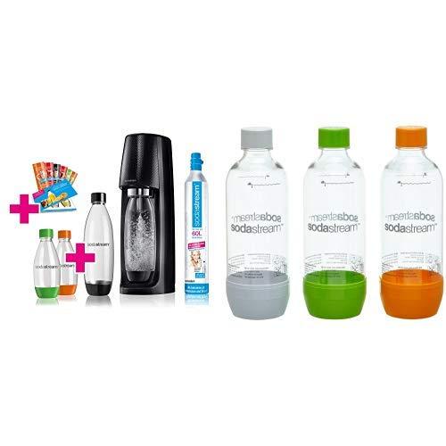 SodaStream Easy Wassersprudler-Set Vorteilspack mit CO2 Zylinder, 1L PET-Flasche, 2x 0,5L PET-Flasche und 6x...