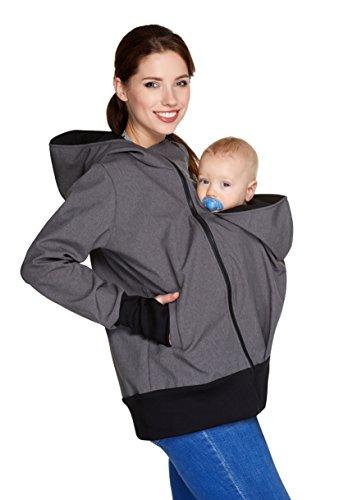 Be! Mama wasserdichte All-Weather 3in1 - Tragejacke & Umstandsjacke & Damenjacke in einem aus Softshell...