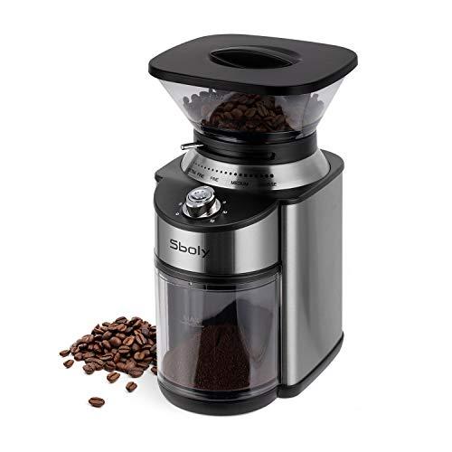 Elektrische Kaffeemühle Kegelmahlwerk, Sboly Kaffeemühle mit konischem Mahlwerk, verstellbare...