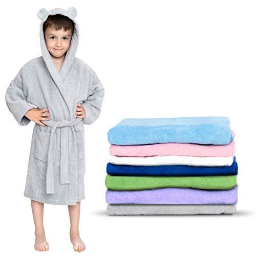 Twinzen - Kinderbademantel Mädchen oder Junge - 100% Baumwolle Ohne Chemikalien OEKO-TEX® - 2 Taschen,...