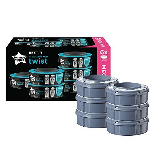 Tommee Tippee Windeleimer Nachfüllkassetten für Twist & Click und Sangenic TEC Windeleimersysteme, 6er Set