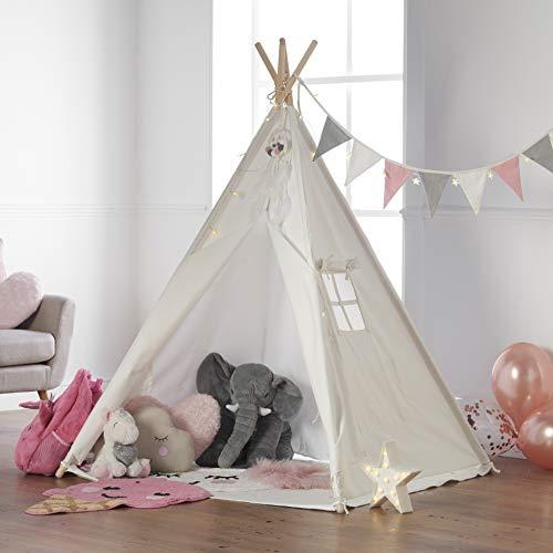 Haus Projekt Tipi Zelt Set Kinder mit Zubehör, Lichterkette, Wimpelkette, Aufbewahrungstasche & Bodenmatte...