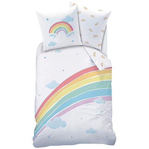 REGENBOGEN Bettwäsche Set · Mädchen-Bettwäsche · Kinderbettwäsche · Very Happy Rainbow · Wolken Sterne...