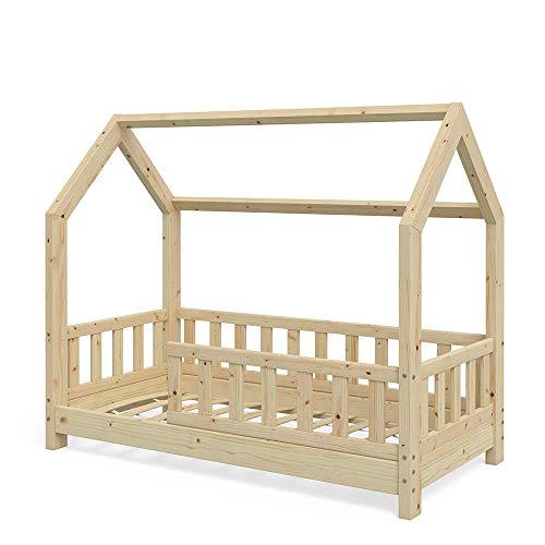 VitaliSpa Kinderbett Hausbett Wiki 70x140cm Natur Kinder Bett Holz Haus Schlafen Hausbett Spielbett Inkl....