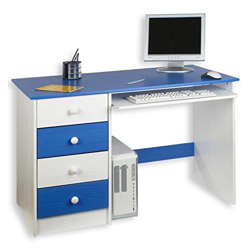IDIMEX Kinderschreibtisch Schülerschreibtisch MALTE Schreibtisch mit Tastaturauszug und 4 Schubladen, Kiefer...