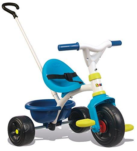 Smoby 740323 Be Fun Dreirad blau Kinderdreirad mit Schubstange, Sitz mit Sicherheitsgurt, Metallrahmen,...