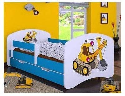 naka24 Kinderbett mit Matratze und Bettkasten für Jungen (140x70 cm, Bagger)