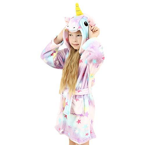 wgde toy Spielzeug für 6-7 jährige Mädchen, Weich Einhorn Kapuzen Bademantel Nachtwäsche für Kinder...