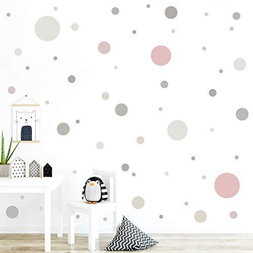 malango® 78 Wandsticker in vielen verschiedenen Farbkombinationen Punkte Kinderzimmer Wandtattoo Kreise Set...