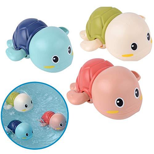 Badewannenspielzeug Schildkröten, 3er Set BPA frei und Schadstoff-frei zertifiziert, Mechanik zum Aufziehen,...