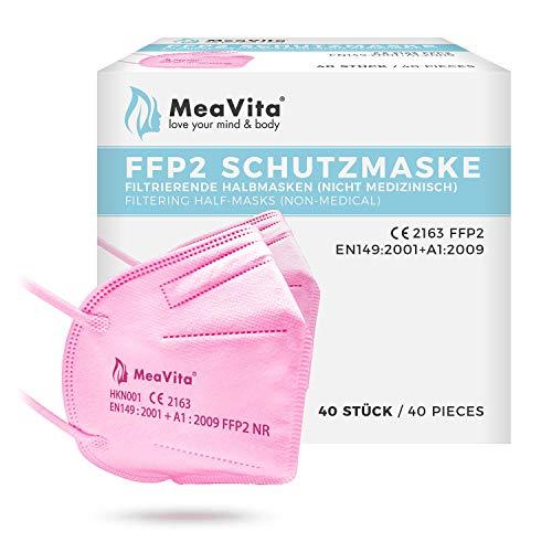 MeaVita FFP2 Maske rosa, EU CE Zertifizierte Mund- und Nasenschutz nach EN149:2001+A1:2009, Atemschutz hohe...