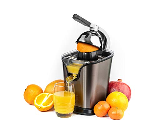 Black+Decker BXCJ100E Edelstahl Zitruspresse für Zitrusfrüchte, Orangenpresse 100W, Universalaufsatz für...