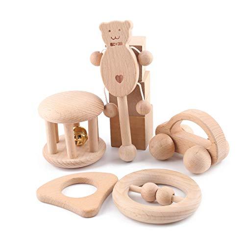 Promise Babe Baby Rassel aus Holz 5 Stücke Musik Spielzeug Shaker Spielzeug mit Holzgriff Rassel Glöckchen...