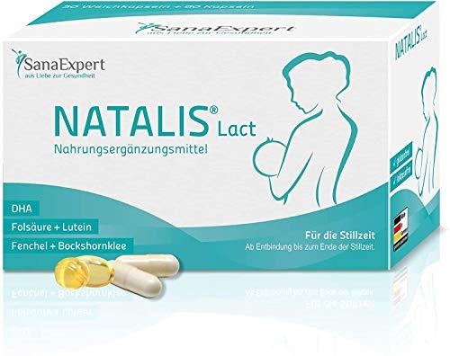 SanaExpert Natalis Lact, Vitamine für die Stillzeit mit DHA, Omega-3, Folsäure, Fenchel, Bockshornklee, 90...