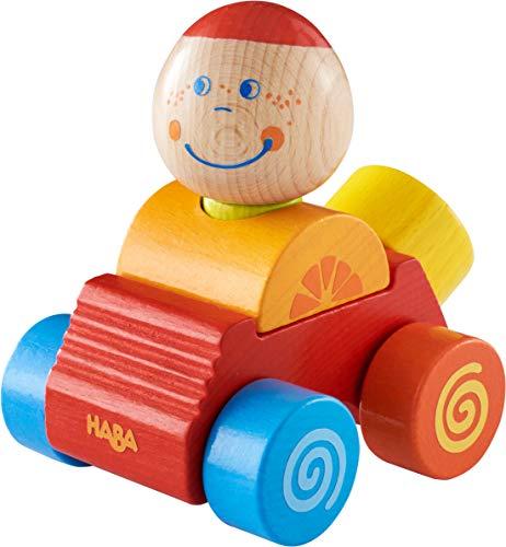 HABA 304737 - Entdeckerauto Ben, buntes Auto aus Holz mit Steckfigur, 4 Teile, Spielzeug ab 12 Monaten