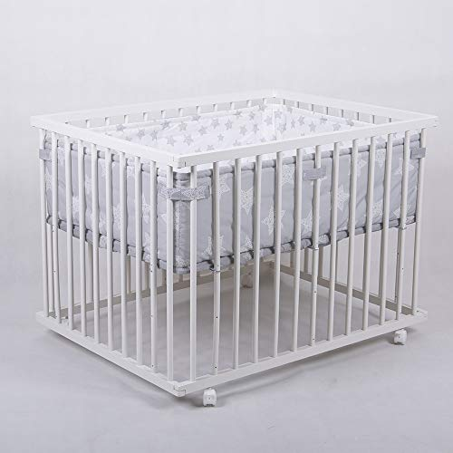 Laufgitter Babylaufgitter Laufstall 100x75cm Komplettset Babylaufstall 3-fach höhenverstellbar WEISS...