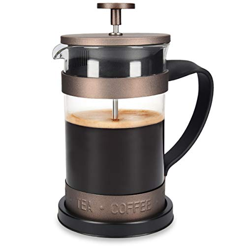 Navaris French Press Kaffeebereiter mit Edelstahl Filter - 600 ml Stempelkanne - 15x10,2x18,2cm - 0,6 l...