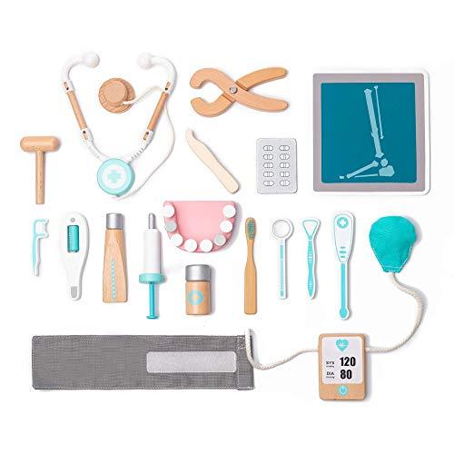 umu Holz Kinder Doktor Spielset für Kleinkinder, Täuschen Spielzeug 18 Stück Qualität Zahnarzt Toolbox...