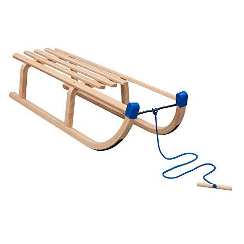 Vispronet Davos Schlitten, Tragfähigkeit 90 kg, inkl. Zugseil, Holzschlitten für Kinder & Erwachsene,...