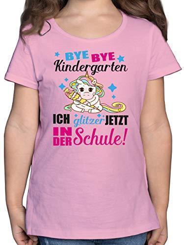 Einschulung und Schulanfang - Ich Glitzer jetzt in der Schule Einhorn mit Schultüte - Fuchsia - 128 (7/8...