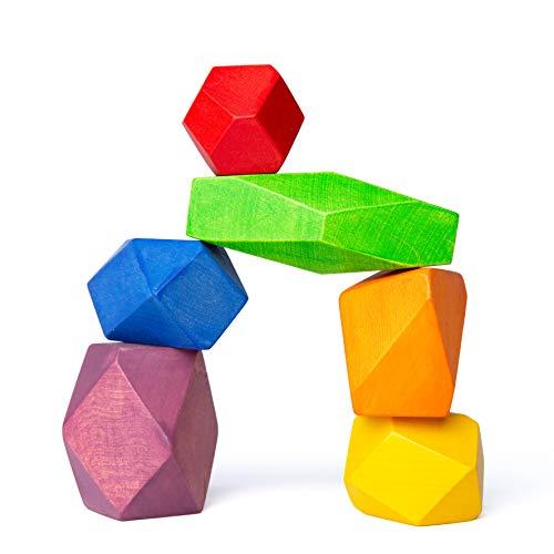 TRAUMHOLZIG Meditations-Balancier Steine (6 teilig) Waldorfspielzeug Heilpädagogisches Spielzeug zur...
