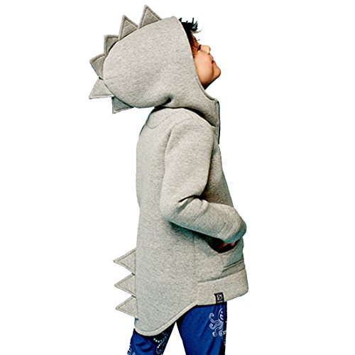 Alleen Baby Kinder Kleidung Herbst Dinosaurier Langarm Tops Hoodie für Jungen 1-7Jahre (Größe 100, Grau)
