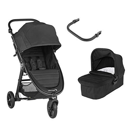 Baby Jogger City Mini GT2 Duo Jet 3 Räder + Babywanne + Vorderstange in Schwarz