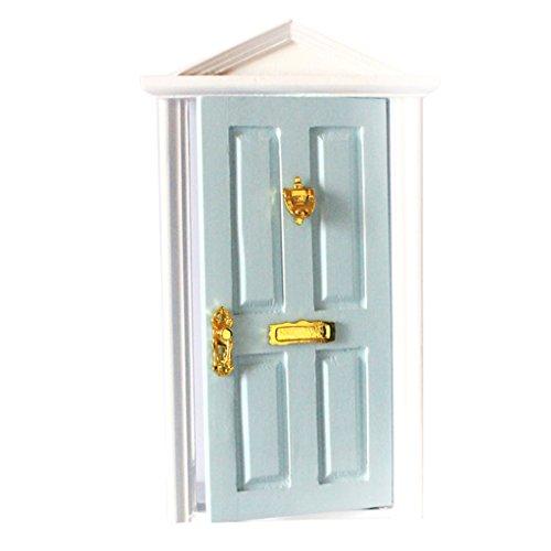 Puppenhaus Miniatür 4 Panel Innen Holztür DIY Steepletop Door - Blau, Taille Unique
