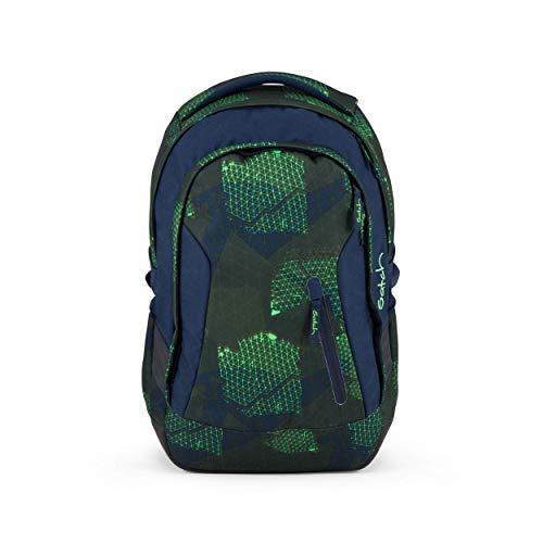 satch Sleek Infra Green, ergonomischer Schulrucksack, 24 Liter, extra schlank, Grün/Blau/Neon
