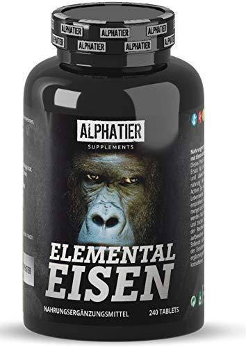 Eisentabletten hoch dosiert + vegan 20mg - mit 40mg natürlichem Vitamin C (Acerola) - 240 Tabletten...